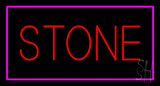 Stone Rectangle Purple LED Neon Sign