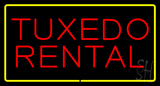 Tuxedo Rental Rectangle Yellow LED Neon Sign