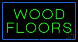Wood Floors Rectangle Blue LED Neon Sign