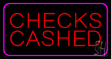 Red Checks Cashed Pink Border LED Neon Sign