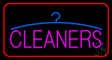 Pink Cleaners Logo Red Border LED Neon Sign