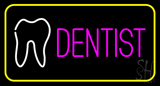 Pink Dentist Tooth Logo Yellow Border LED Neon Sign