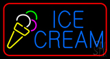 Blue Ice Cream with Red Border LED Neon Sign