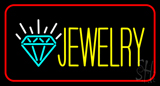 Jewelry with Red Border LED Neon Sign