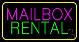 Mailbox Rental Block Yellow Border Neon Sign