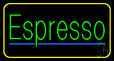 Green Espresso with Yellow Border LED Neon Sign