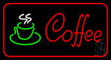 Red Coffee Logo with Red Border LED Neon Sign