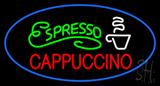 Oval Espresso Cappuccino with Blue Border LED Neon Sign
