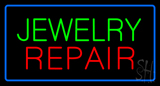 Jewelry Repair Rectangle Blue LED Neon Sign