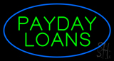 Green Payday Loans Oval Blue Border LED Neon Sign