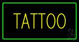 Yellow Tattoo Green Border LED Neon Sign