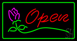 Red Open Rose Green Border LED Neon Sign