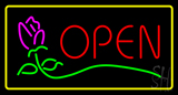 Red Open Rose Yellow Border LED Neon Sign