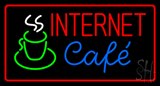 Red Internet Cafe with Coffee Mug LED Neon Sign