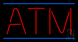 Red ATM Blue Lines LED Neon Sign