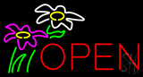Flowers Logo Block Open Neon Sign
