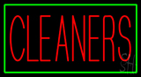 Red Cleaners Green Border Neon Sign