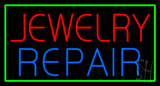 Jewelry Repair Green Rectangle Neon Sign