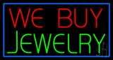 We Buy Jewelry Rectangle Blue Neon Sign