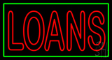 Double Stroke Red Loans Green Border Neon Sign