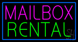 Mailbox Rental Blue Rectangle Neon Sign
