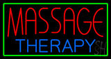 Massage Threapy with Green Border Neon Sign