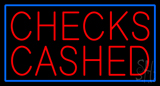 Red Checks Cashed Blue Border Neon Sign