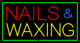 Red Nails and Waxing with Green Border Neon Sign