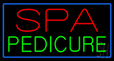 Red Spa Green Pedicure Blue Border  Neon Sign