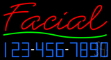 Red Facial with Phone Number Neon Sign