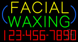 Block Facial Waxing with Phone Number Neon Sign