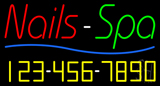 Red Nails Spa with Phone Number Neon Sign