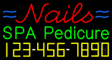 Nails Spa Pedicure with Phone Number Neon Sign