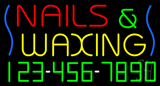 Nails and Waxing with Phone Number Neon Sign