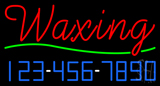 Red Cursive Waxing with Phone Number Neon Sign