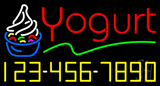 Red Yogurt with Phone Number Neon Sign