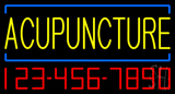 Yellow Acupuncture with Phone Number Neon Sign