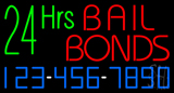 24 Hrs Bail Bonds with Phone Number Neon Sign