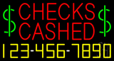 Red Checks Cashed Dollar Logo with Phone Number Neon Sign