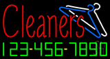 Red Cleaners Phone Number Logo Neon Sign