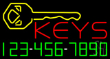 Keys with Phone Number Neon Sign
