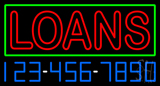 Double Stroke Red Loans with Phone Number Neon Sign