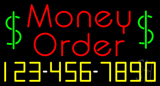 Red Money Order with Phone Number Neon Sign