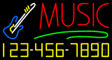 Music with Phone Number Neon Sign