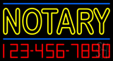 Double Stroke Yellow Notary with Phone Numbers Neon Sign