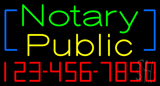 Green Notary Public with Phone Number Neon Sign
