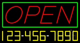 Open with Phone Number Neon Sign