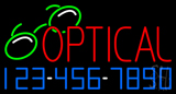 Red Optical with Phone Number Neon Sign