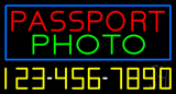 Passport Photo Blue Border with Phone Number Neon Sign