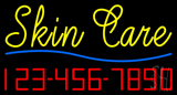 Cursive Yellow Skin Care with Phone Number Neon Sign